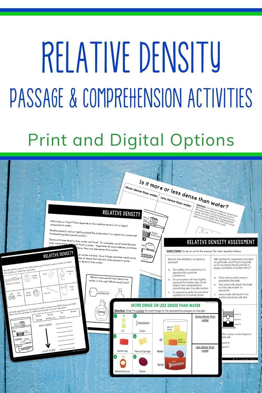 Relative Density Passage with Comprehension Activities