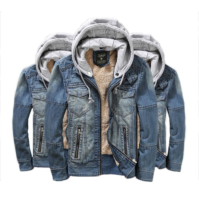 7816b3289d2b Winter Mens Denim Jacket Jeans Fur Coats Inside Hooded Collar With Hat For  Man Size M
