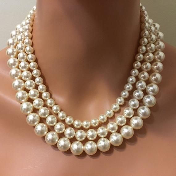 Classic Pearl Necklace 3 multi strand Swarovski Pearls in Cream Ivory or choice of color Statement vintage style Mother of the Bride wedding