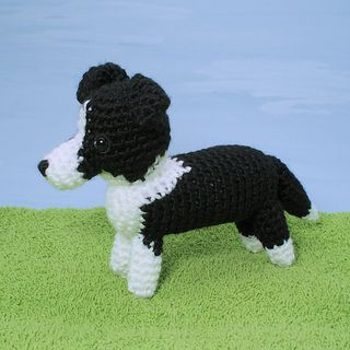 An original crochet amigurumi Border Collie dog pattern from the AmiDogs range by June Gilbank.