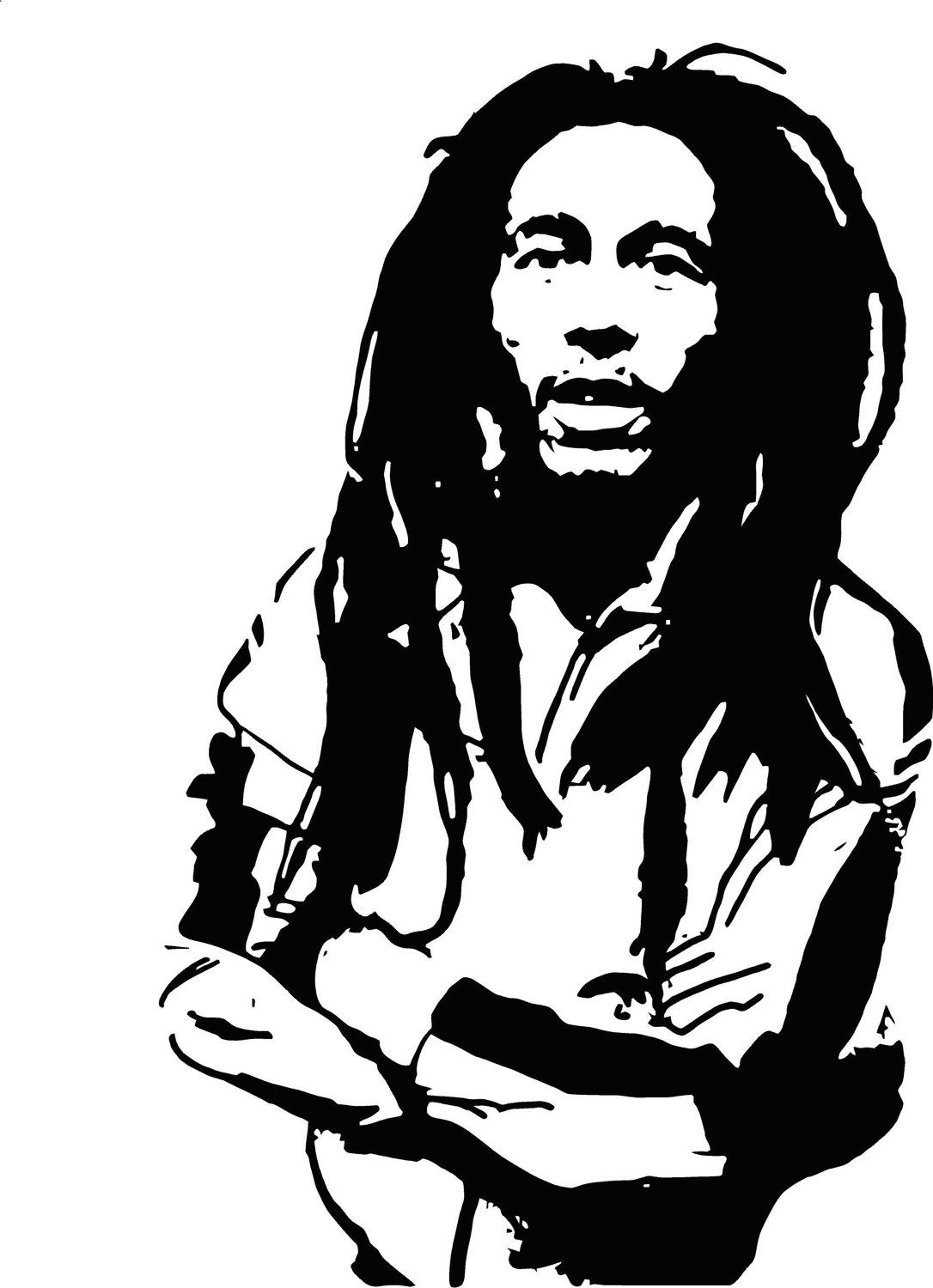 bob marley version 2 vinyl wall art decal bob marley pinterest rh pinterest com bob marley black and white clipart bob marley clip art images