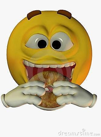 Clipart of a Cartoon Yellow Smiley Face Emoji Emoticon Eating a ...