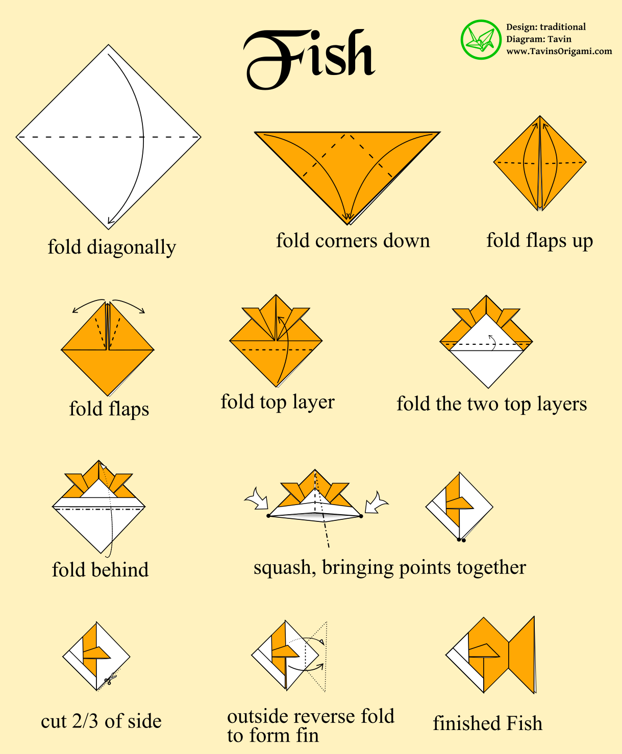 Instructions For An Origami Fish Paper Art Pinterest Animals Dachshund Folding Diagram