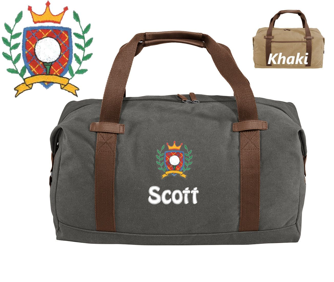 Personalized golf duffle bag embroidered golf crest