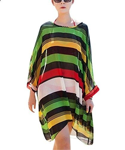 d90fa5929d330 Simplicity Womens Rainbow Stripe Chiffon Oversized Beach Swimwear Cover Up.  Check website for more description.