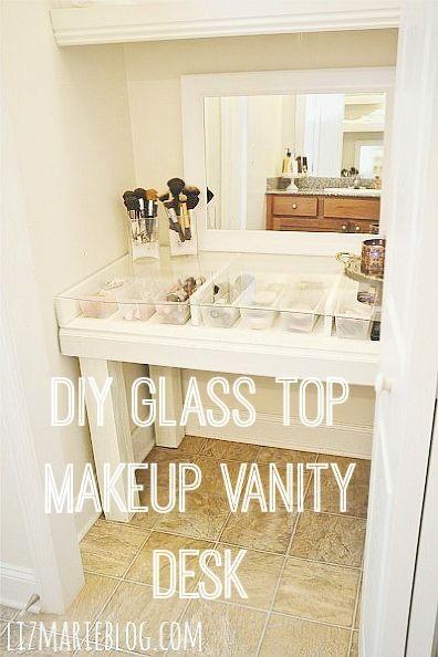 DIY Glass Top Makeup Vanity Desk | Makeup vanity desk, Vanity desk ...