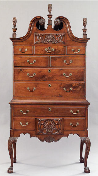 American centennial chippendale carved mahogany highboy c