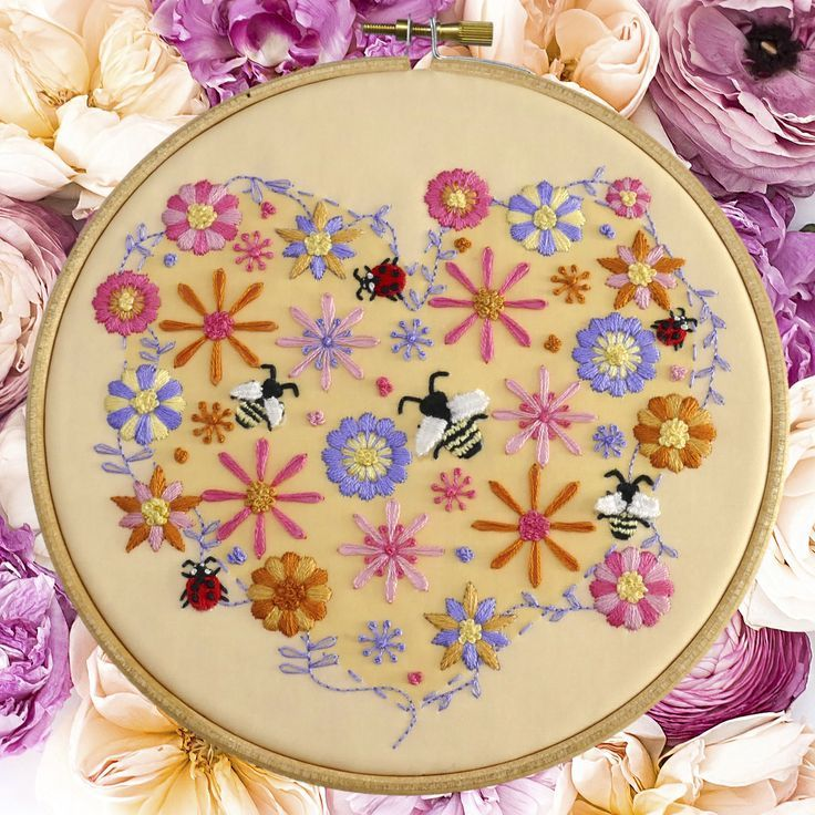 Embroidery Bees And Flowers Embroidery Pattern Create A Fun Piece