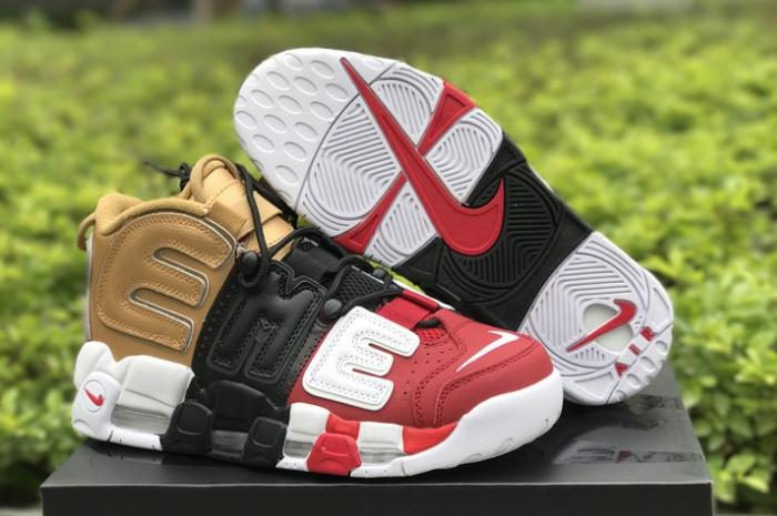 "9fa7aa60b72d0 2018 New Supreme x Nike Air More Uptempo ""Tri-Color"" Black Red Gold ..."