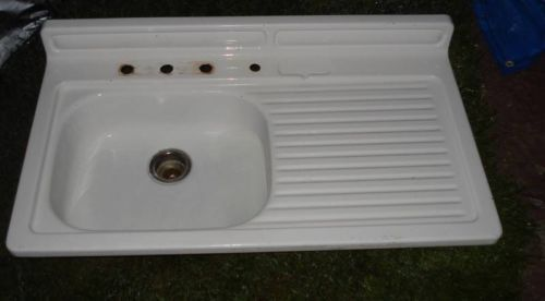 Farm Kitchen Sinks With Drainboard | Vintage Porcelain Cast Iron Farm  Kitchen Sink Right Drain Board