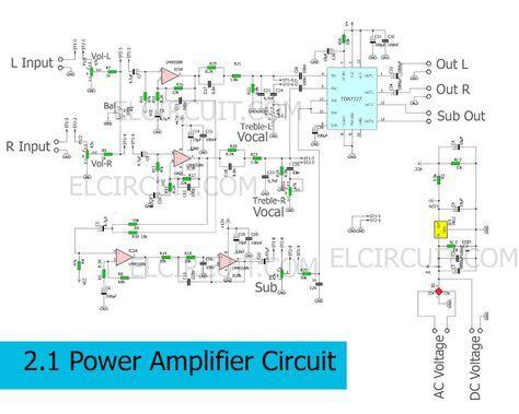 circuit schematic of 2 1 power amplifier using tda7377