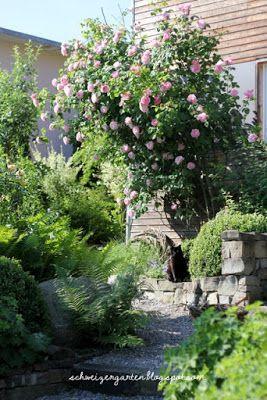 kies weg im garten, romantische sitzplätze, vorgartengestaltung, kiesweg im garten, Design ideen