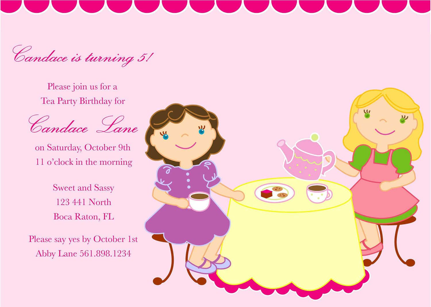 Girls Tea Party Invitation Tea Party Pinterest – Kids Birthday Party Invite