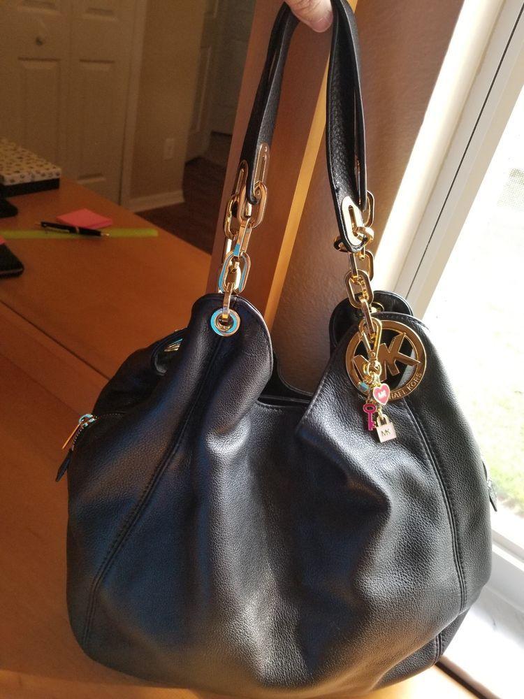 b297b810c4 Michael Kors Fulton Large Leather Shoulder Tote - Black  fashion  clothing   shoes