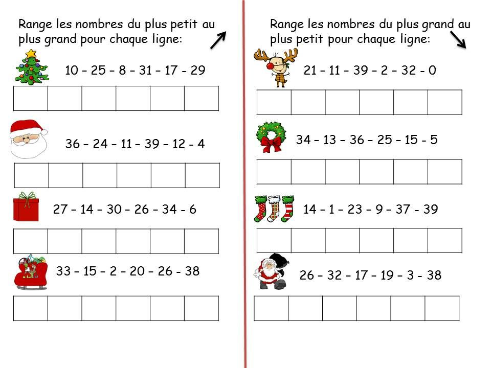 Favori RANGER LES NOMBRES - 39 - CP NOEL | Mathématiques | Pinterest  HA81