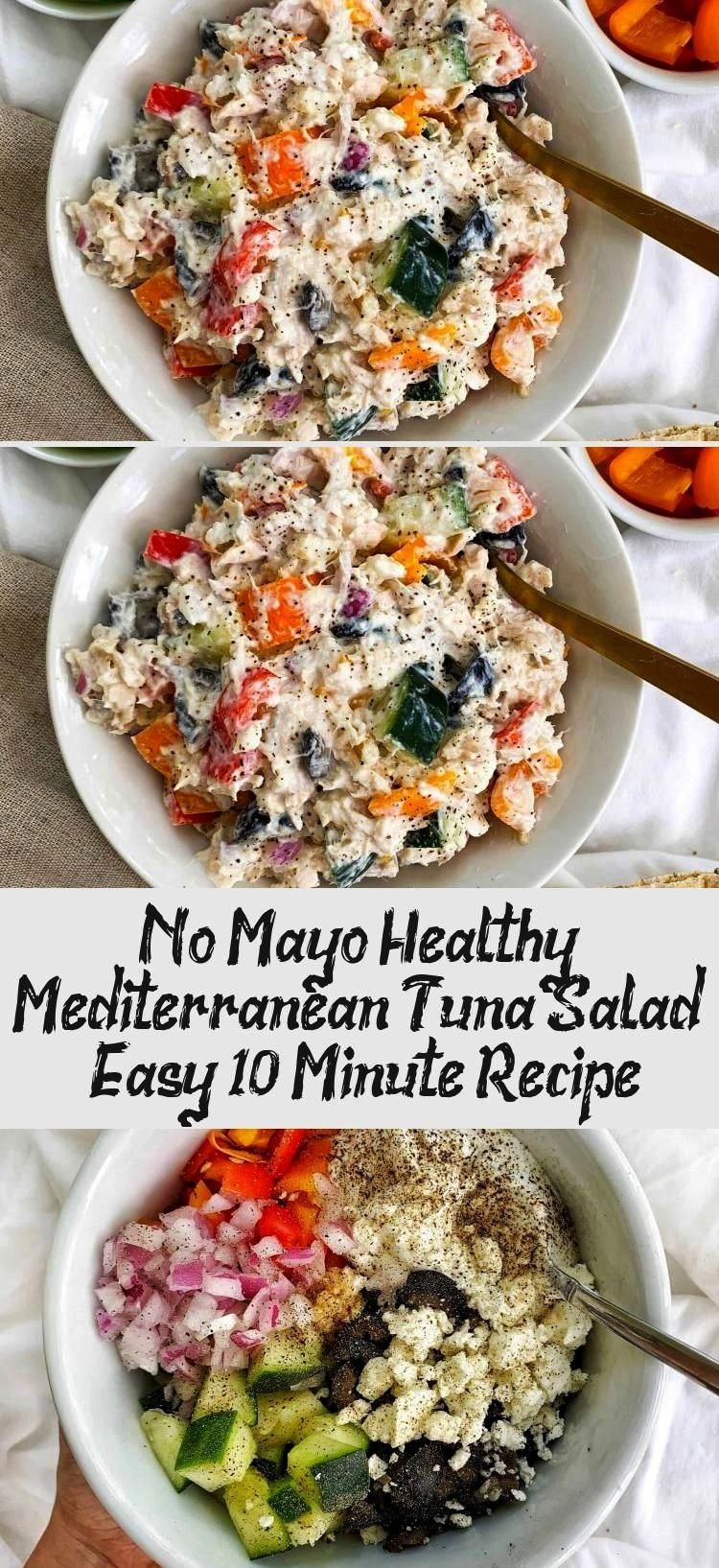 Healthy Mediterranean Tuna Salad recipe is high protein, mayo-free, packed with veggies, and ready