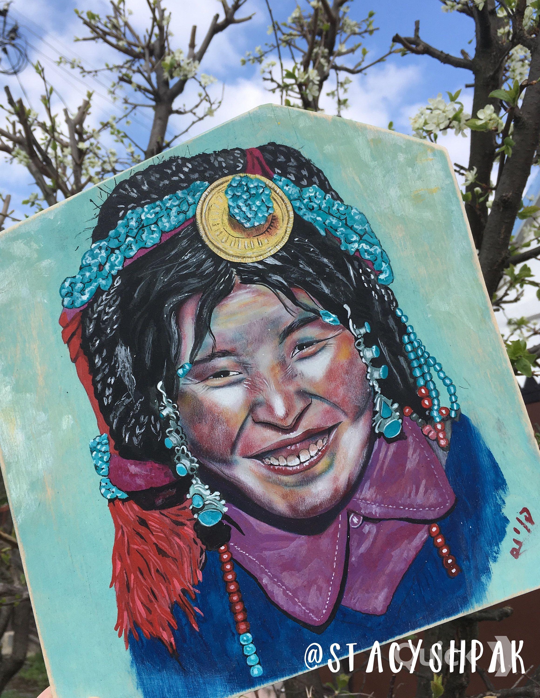 Stacy Shpak Original Tibetan woman portrait painting on wood by Stacyshpak on Etsy