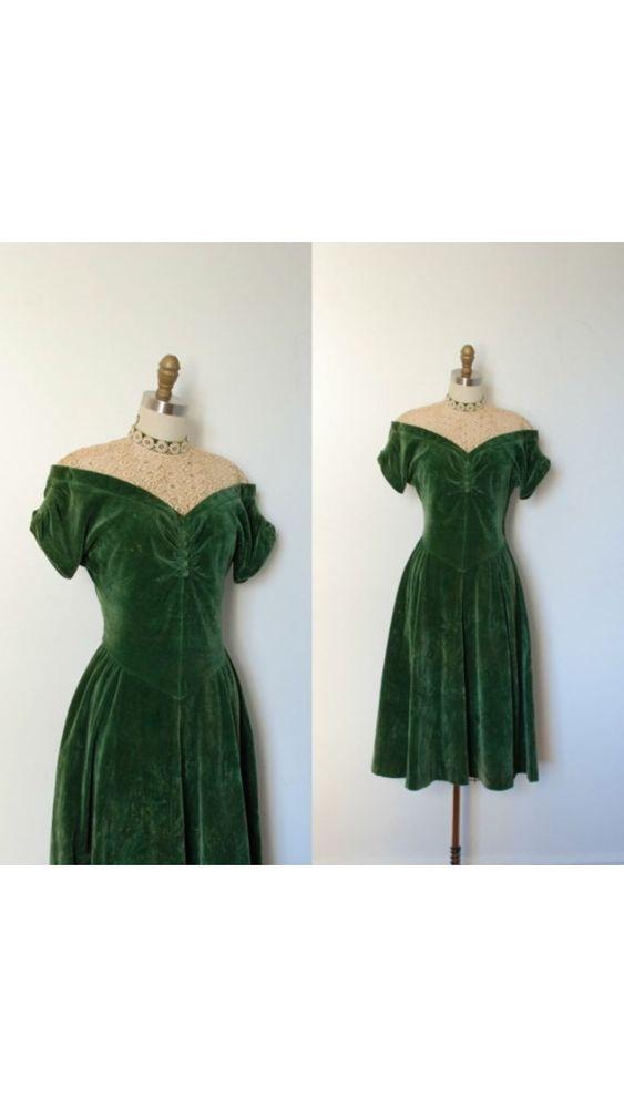 vintage Kleid 40er 40s 50er samt grün Swing Rockabilly pin up art ...
