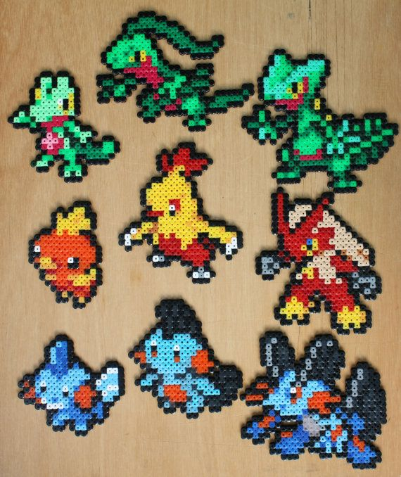 Pokemon Bead Sprite Generation Three Starter Set Hama Perler