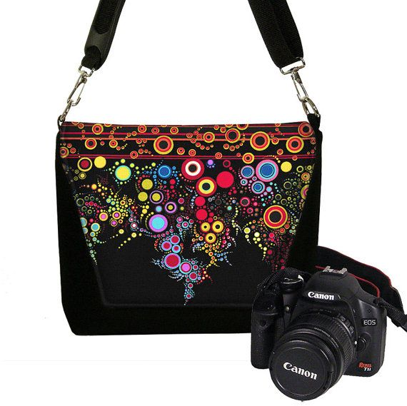 DSLR Camera Bag, Digital Camera Bag, Slr Camera Purse Water Resistant Padding Pockets colorful stripe dots RTS
