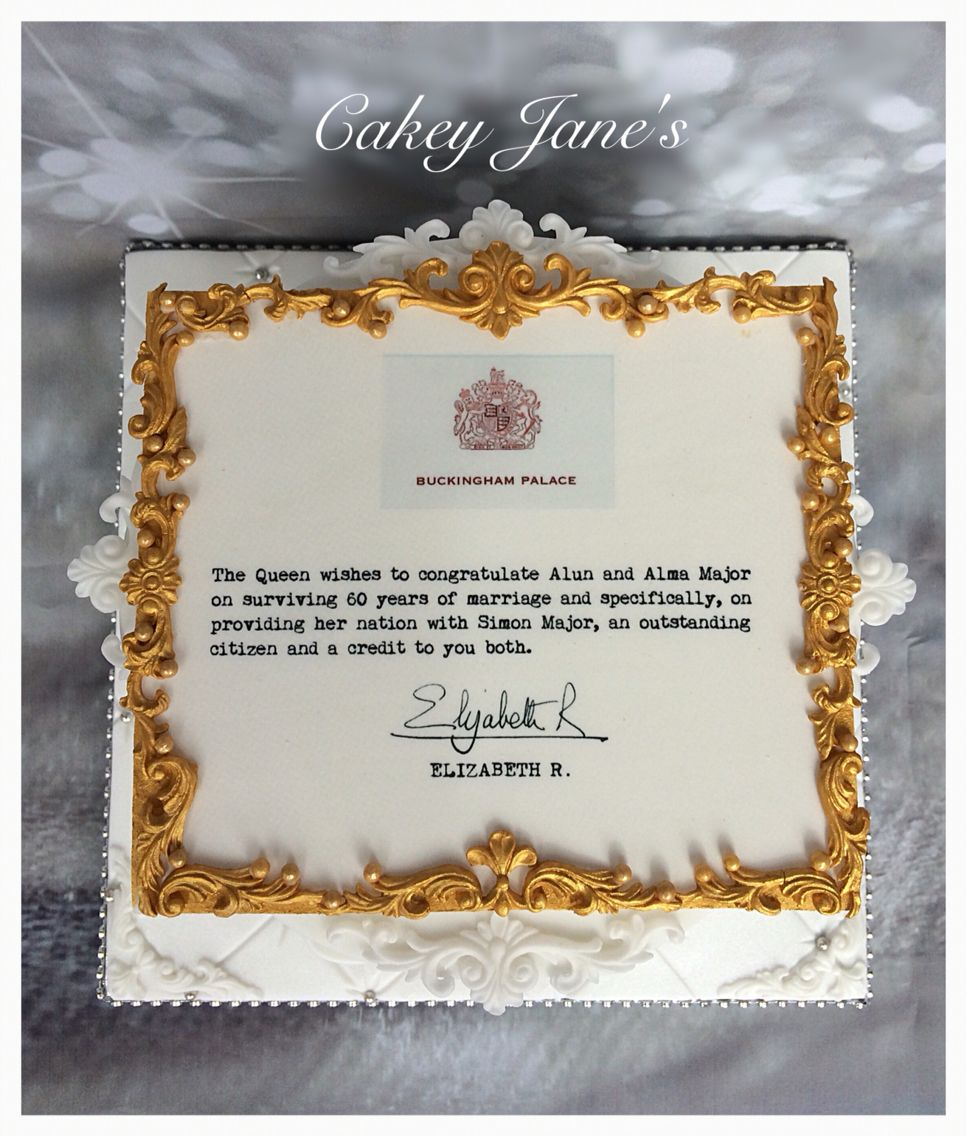 Personalised Letter From The Queen Diamond Anniversary Cake