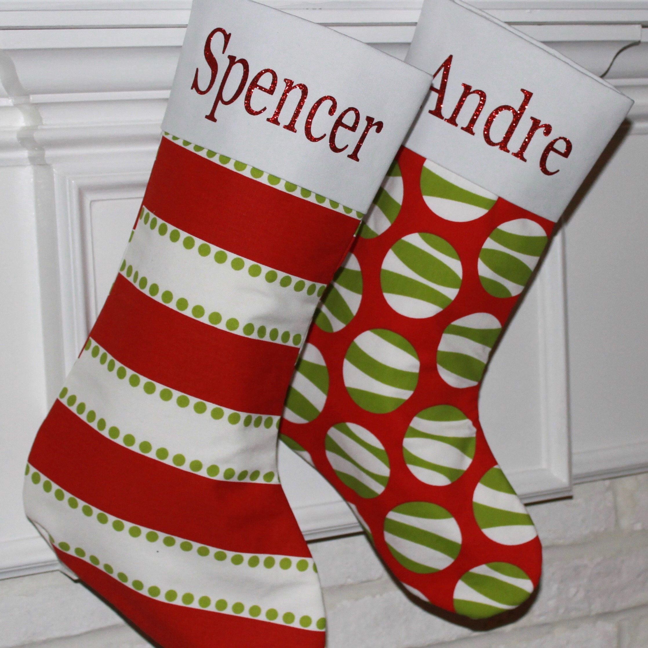 Personalized Red and Green Christmas Stockings | Green ...
