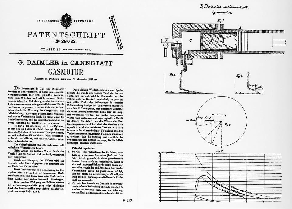 1883 Engine Technology First Patents For Daimler Gottlieb