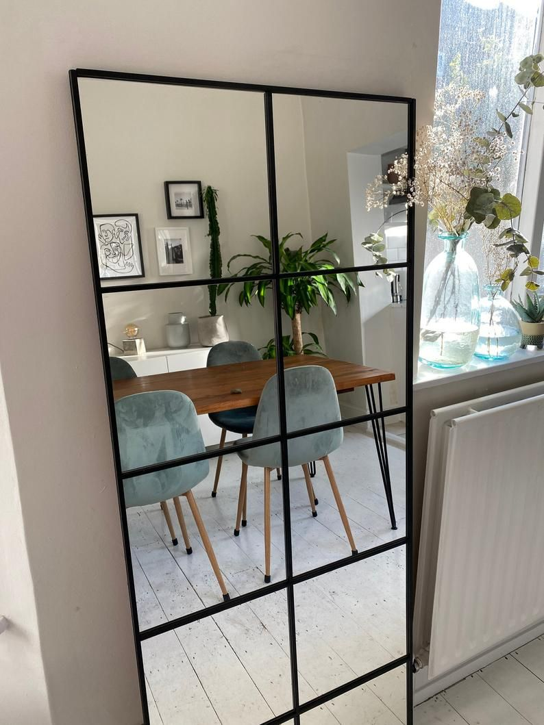 Large Industrial Mirror With Sprouts Etsy In 2020 Industrial Mirrors Industrial Decor Bedroom Modern Industrial Living Room