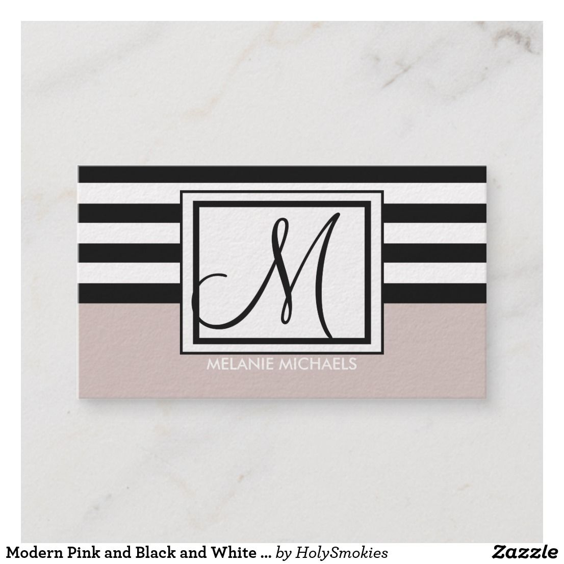 Modern pink and black and white stripes monogram business