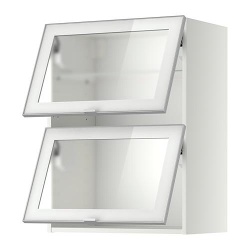 METOD Pensile orizzontale/2 ante a vetro, bianco, Jutis vetro ...