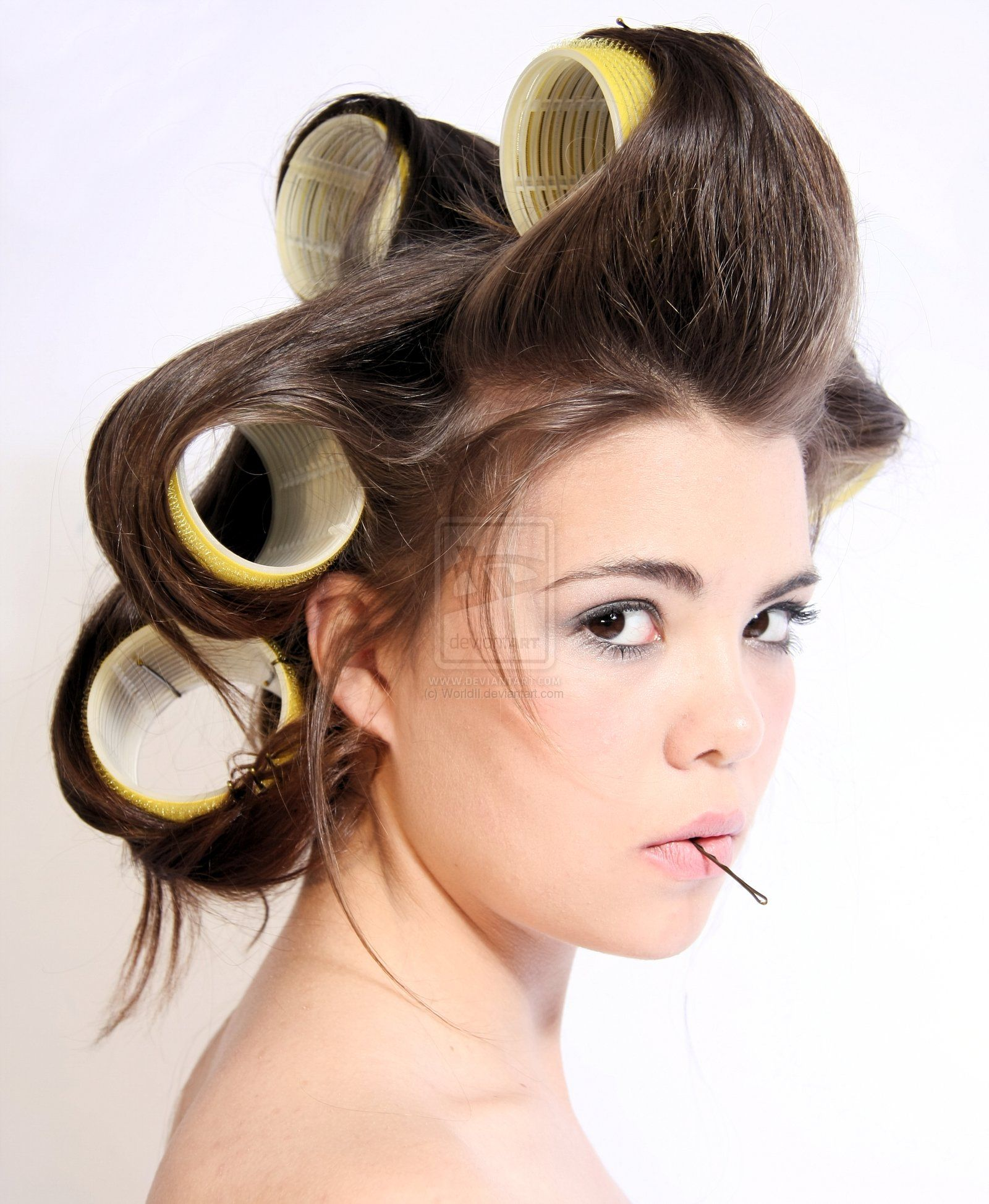 This is how i do my hair i love my velcro rollers lol hair