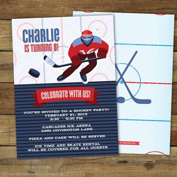 Hockey Birthday Party Invitation Hockey Party Invitation Printable