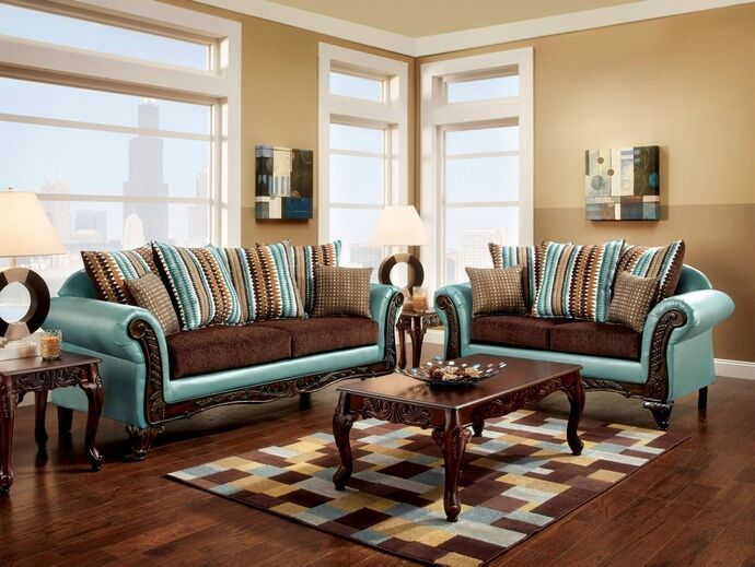 Sm7610 2 Pc Mulligan Two Tone Dark Brown Fabric And Teal Leatherette Sofa And Love Seat Set With Wood Trim Front Arms And Base Brown Living Room Decor Living Room Leather