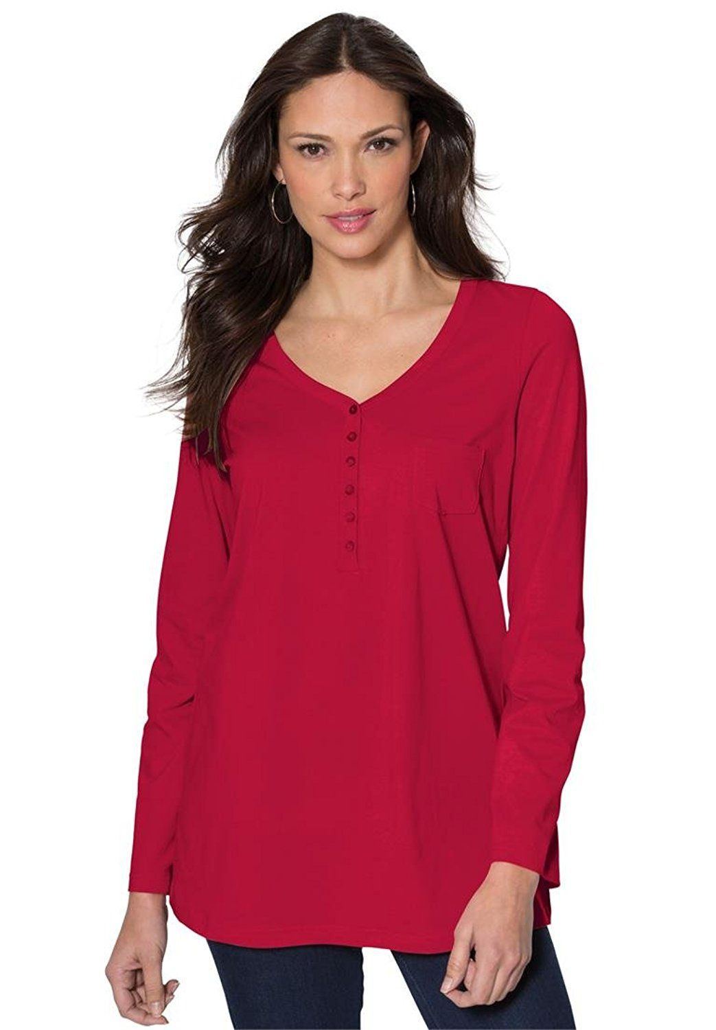 4f4fb27a Roamans Women's Plus Size Ultimate Henley Pocket Tee With Sweetheart Neck  *** Check out this great image : Plus size shirts
