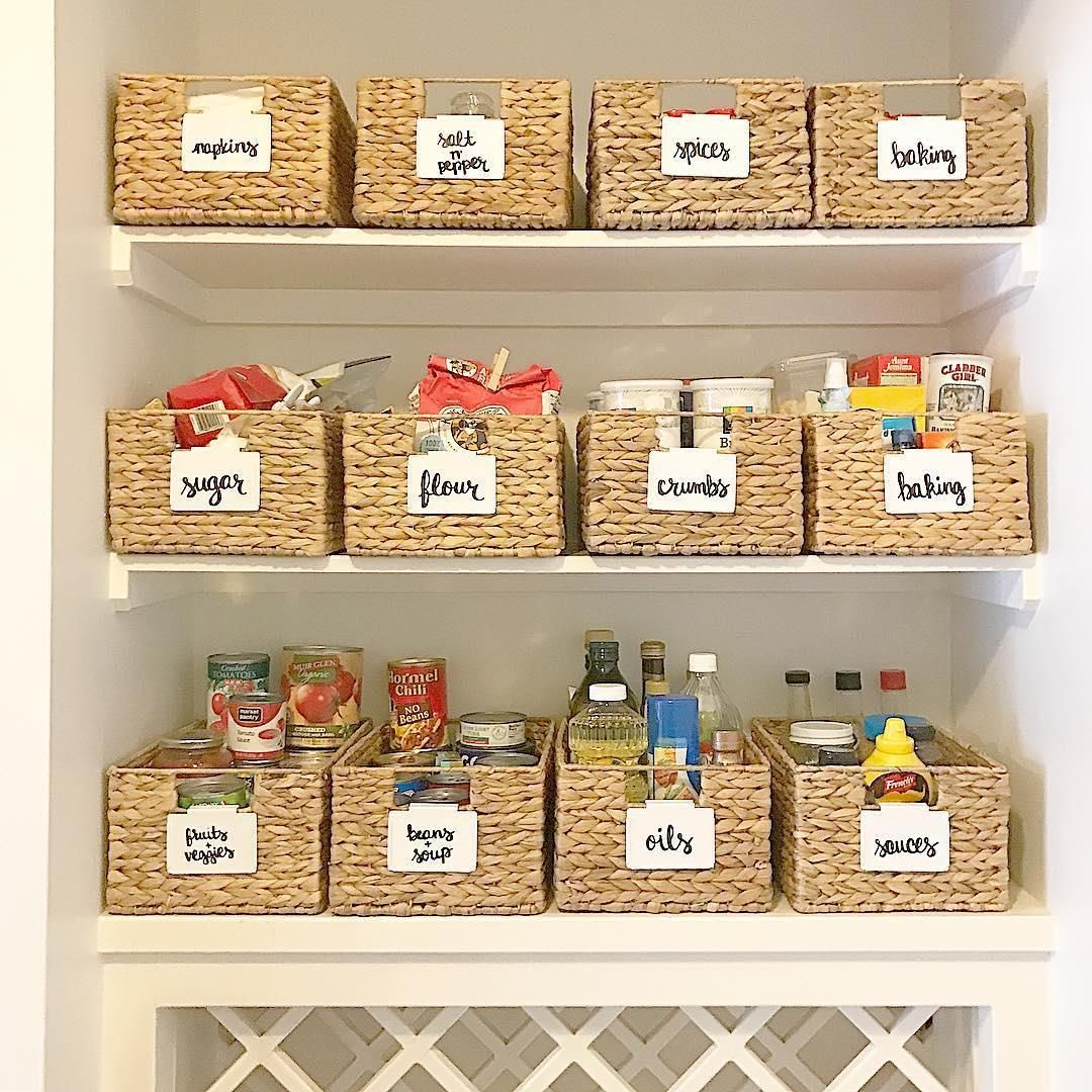 Water Hyacinth Bins offer an attractive option for storage of a variety of items around your home. They look perfect in any room. Use them for pantry storage and organization, in your entryway, or in your craft room. #pantryorganizationideas