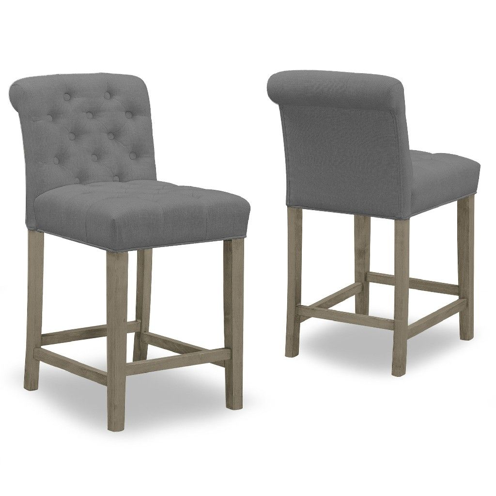 Aleen Grey Fabric Counter Stool W Roll Back Design Tufted