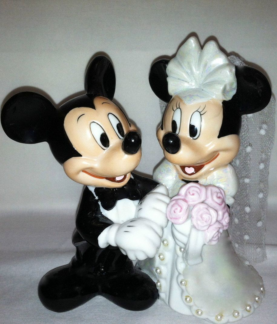 vintage disney mickey and minnie wedding bridal cake topper