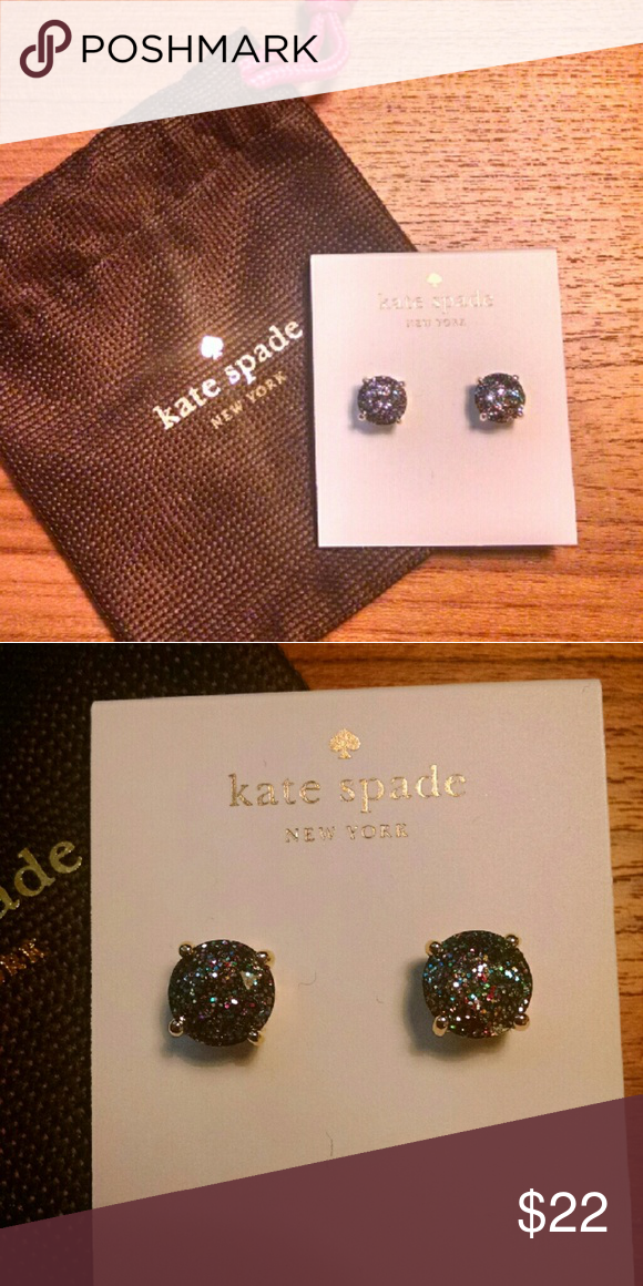 NWT Kate Spade Glitter Gumdrop Earrings Sparkly studs from Kate Spade! Gold backing and multicolored glitter studs. Comes with a mini duster for safe storage.  Measurements:?.25 x .25 x .25 in. kate spade Jewelry Earrings