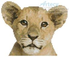 Mini Lion Cub Cross Stitch Pattern http://www.artecyshop.com/index.php?main_page=product_info&cPath=11_12&products_id=34