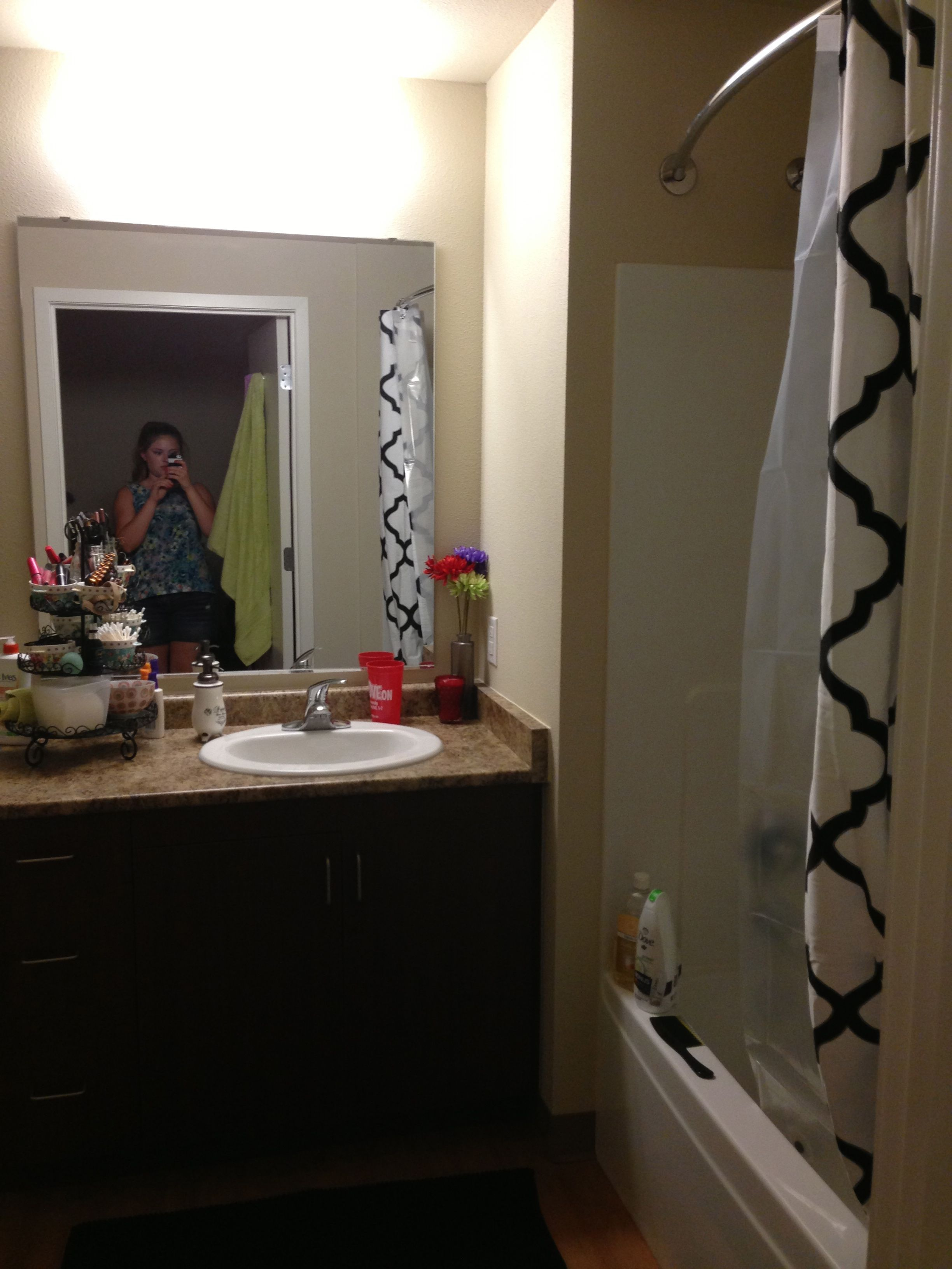 Your Own Bathroom In A 4x4 At Cardinal Court City Living Illinois State University Lighted Bathroom Mirror