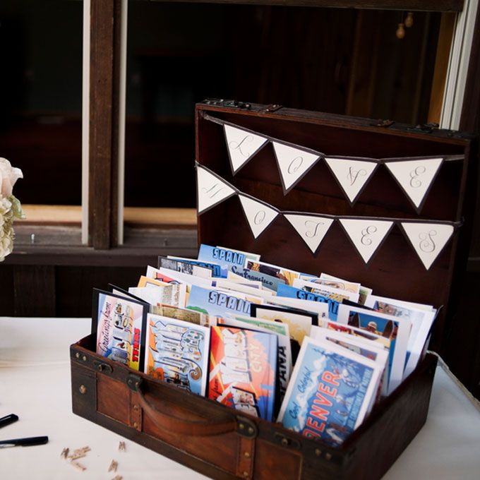 Creative Ideas For Guest Books At Weddings: Vintage Postcard Wedding Guestbook In 2019