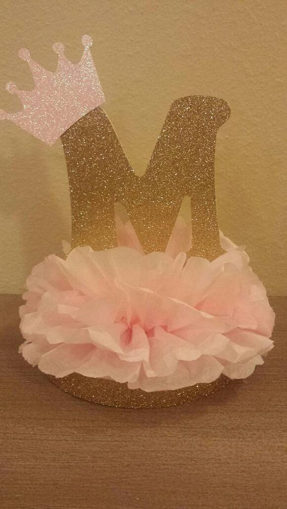 Princess or prince initial tiara glitter centerpiece 1st for Pink and gold bathroom decor