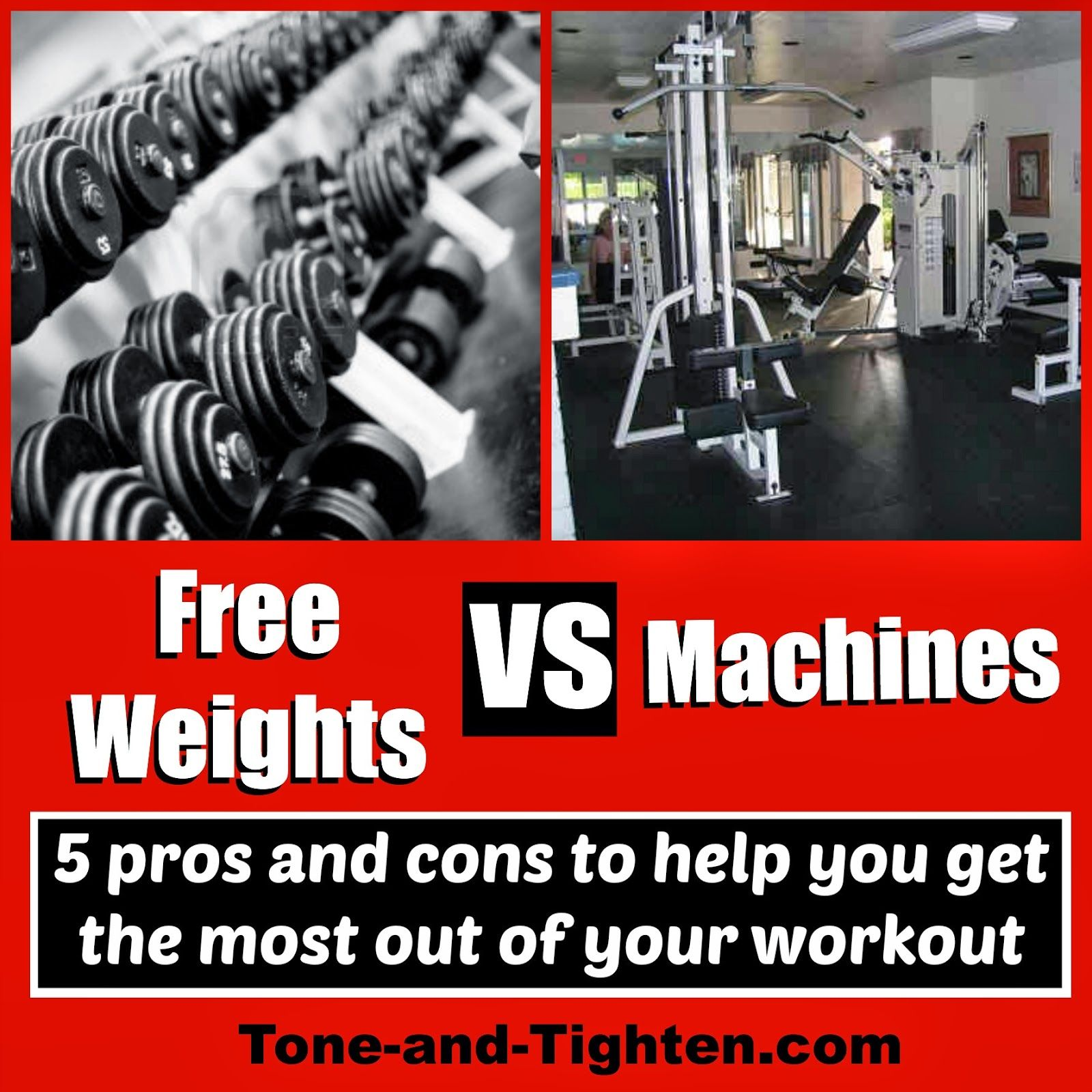 Free weights or machines? Get some solid advice on which one you should be using at Tone-and-Tighten.com