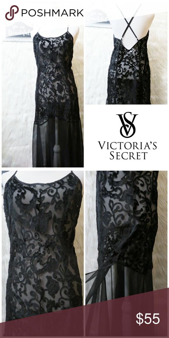 Vintage Victoria s Secret Lingerie 💖 Gorgeous black long floor length gown  It s all sheer except af36d7bdd