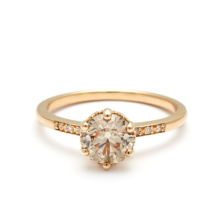 Hazeline Solitaire Ring - Yellow Gold & Champagne Diamond (1.0ct ...