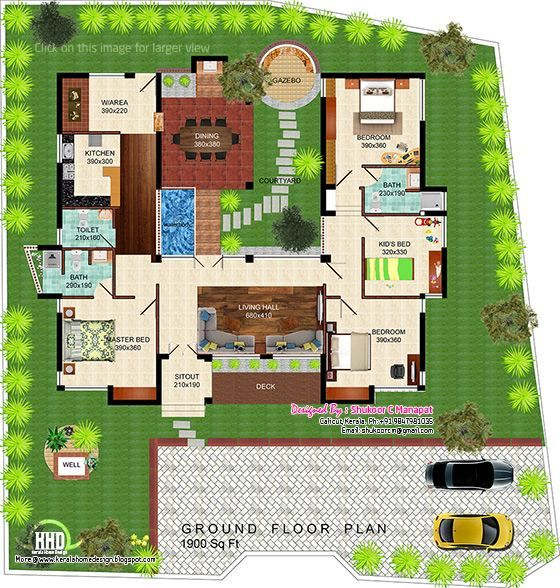 Eco Friendly Single Floor Kerala Villa In 2020 Floor Plans Mud