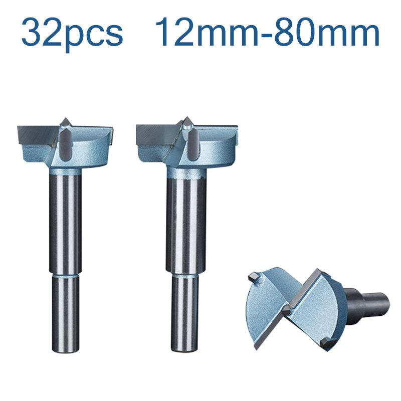 32pcs12mm 80mm Forstner Drill Bits Tips Set Woodworking Tools Hole Saw Cutter Hinge Boring Round Shank Tungsten Carbide Cutte 32pcs Drill Bits Drill Hole Saw