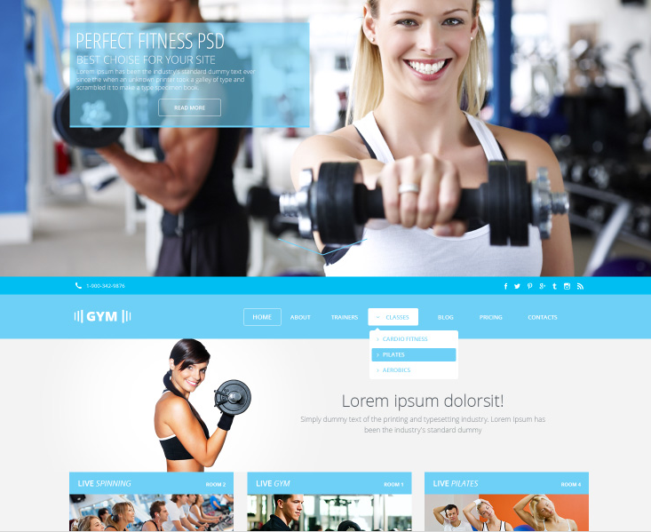 GYMSports Free PSD Template   Web and Graphics Design   Pinterest ...