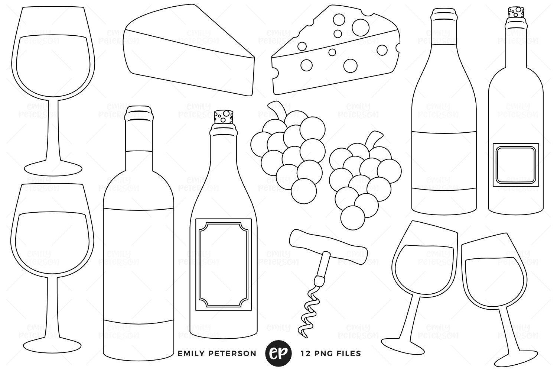 Wine Tasting Digital Stamps Digital Stamps Line Art Images