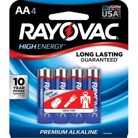 Rayovac High Energy Aa Batteries 4 Pack Double A Batteries Walmart Com Alkaline Battery Alkaline High Energy